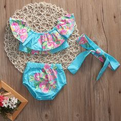 Off Shoulder Pink Floral Swimsuit With Matching Headband from kidspetite.com!  Adorable & affordable baby, toddler & kids clothing. Shop from one of the best providers of children apparel at Kids Petite. FREE Worldwide Shipping to over 230+ countries ✈️  www.kidspetite.com  #baby #infant #beach #swim #newborn #swimwear #girl #swimsuit Baby Girl Swimwear, Kids Outfits, Summer Outfits, Floral Swimsuit, Ruffle Romper, Daddys Little, More Cute, Two Piece Swimsuits, Outfit Sets