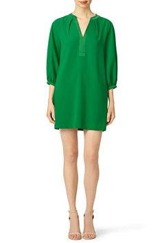 """[Picked from Rent The Runway] Green crepe (100% Polyester). Three-quarter sleeves. V-neckline. Shift bodice. 34"""" from shoulder to hemline. Hidden side pockets. Imported. $62.00 Buy It Now ! Rent The Runway, Trina Turk, Green, Jackets, Stuff To Buy, Dresses, Fashion, Down Jackets, Vestidos"""