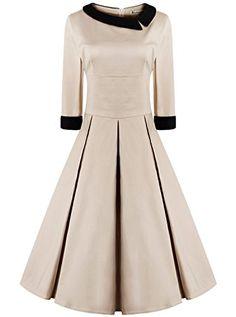 Classy Women's 50s Retro Style Rockabilly 3/4 Sleeve Khaki Dress