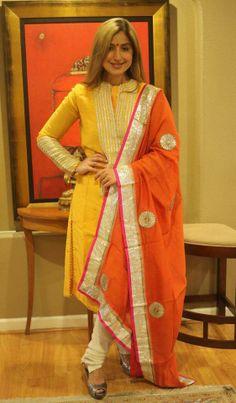 yellow and orange Kurti Designs Party Wear, Kurta Designs, Blouse Designs, Pakistani Dresses, Indian Dresses, Indian Outfits, Indian Designer Suits, Designer Salwar Suits, Indian Bridal Wear