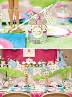 More Girl Art Birthday Party Ideas! LoVe the wooden art people with the bows!