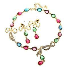 Arinna Color Resin Rhinestone Earrings Necklace Set 18K Gp Swarovski Elements Crystal Arinna. $31.98
