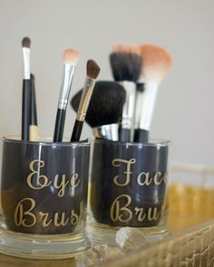 Clear Gold make up brush holders, set of 2 brush holders, makeup accessories, vanity decor, bath decor, face brush holder, eye brush holder by FalsHandmades on Etsy https://www.etsy.com/listing/246010023/clear-gold-make-up-brush-holders-set-of