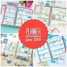 Hope your holidays were lovely! I'm currently blogging from Due South Coffee with a delicious hot chocolate. Planner Decoration Ideas: June 2015 (Erin Condren Vertical) With turquoise being m…