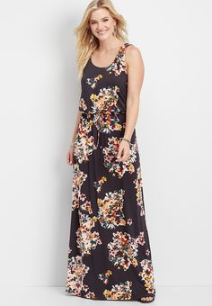 02a9eb4d88491 24/7 lattice back floral maxi dress | maurices Fashion Outfits, Womens  Fashion,
