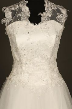 Reduced by £1000...SALE... Bridal gown in ivory tulle and ivory/silver lace. Ivory princess wedding dress. Traditional wedding dress. Tulle and lace bridal. http://etsy.me/2ijQFq9 #weddings #clothing #weddingdress #white #tulleandlace #laceweddingdress  #wedding