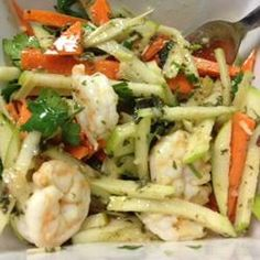Green Apple, Jicama, and Prawn Salad with Mint, Lemongrass, and Dijon Dressing