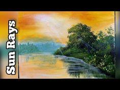Sun Rays Mountains Acrylic painting Acrylic Painting For Beginners, Acrylic Painting Tutorials, Painting Videos, Acrilic Paintings, Sun Rays, Mountains, Art, Ideas, Art Background