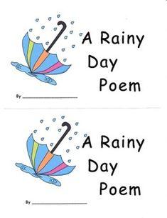 Kindergarten Readiness, Kindergarten Literacy, Literacy Centers, Classroom Activities, Emergent Literacy, Emergent Readers, Rainy Day Poem, Common Core Reading, Thing 1