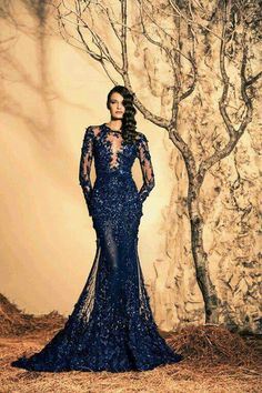 Royal blue lace gown