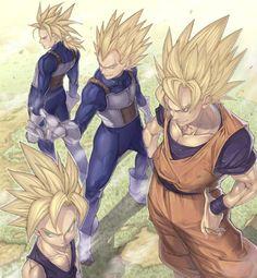 Trunks, Gohan, Vegeta, and Goku