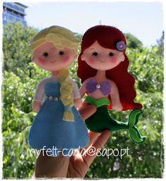 Elsa e Ariel em feltro!