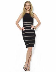 LAUREN RALPH LAUREN Mesh Striped Jersey Dress - BLACK - http://1tagdeals.com/fashion/shop/lauren-ralph-lauren-mesh-striped-jersey-dress-black-12/