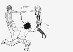"Light, L, and Misa from ""Death Note. Death Note デスノート, Death Note Fanart, 5 Anime, Anime Art, Amane Misa, L Lawliet, Nerd, Manga Covers, Manga Art"