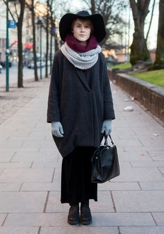 "Emilia, 21  ""The weather looked cold so I wanted to wear my most warm clothes.  I like young Finnish labels like R/H, Samujiand Siloa & Mook, and I also make clothes myself. I love natural materials and the colour grey.""  23 November 2013, Esplanadi"