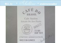 """Schablone """"CAFÉ DO BRASIL"""" - DIN A4 von Atelier 1944 auf DaWanda.com"""