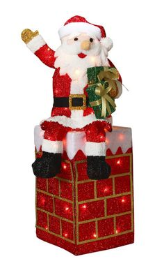 40 lighted tinsel santa and chimney christmas tree decorations christmas lights christmas ornaments
