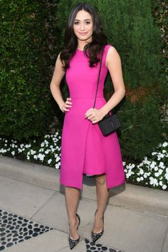 Emmy Rossum wearing Christian Louboutin Artifice Strass Pumps, Lyn Devon Fall 2014 Dress and Christian Louboutin Fiocco Box Clutch
