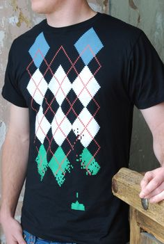 Argyle Space Invaders T Shirt on black Men's by ScatterbrainTees, $24.50