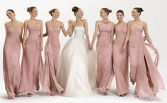 Example of long dresses in different styles. Rosa Clara bridesmaids