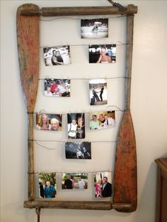 Oar photo frame #upcycle  #repurpose use large frames..add small oars. like memories twine for photos