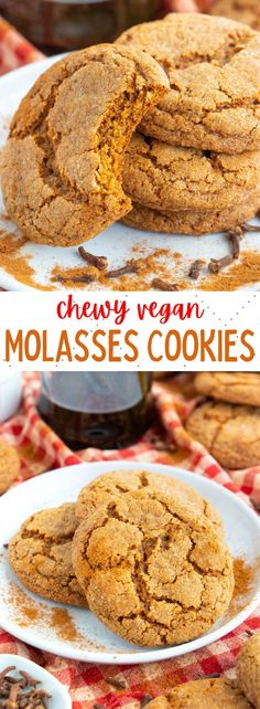 These soft and chewy vegan molasses cookies are sweet, spiced and crinkled! The best ever ginger molasses cookies packed with spices! #vegancookies #veganmolassescookies #vegancookierecipes Healthy Vegan Desserts, Vegan Dessert Recipes, Baking Recipes, Vegan Food, Paleo, Soft Snickerdoodle Cookies, Soft Baked Cookies, Delicious Cookie Recipes, Yummy Food