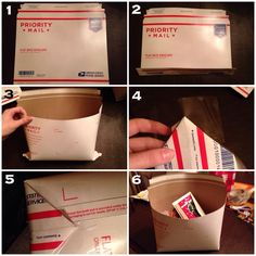 """A lady at the post office taught me this trick and I have realized very few people know about it! You can turn a flat rate envelope into a pouch to increase the capacity. It holds more than a small flat rate box ($5.80) and about as much as a medium ($12.35) for only $5.60. So worth it! I do this all the time! Just fold the bottom both ways, and flatten it out from the inside, folding the corners and taping them up into a rectangular bottom. Secure with lots of tape. Happy shipping!"""