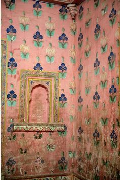 Old flower wallpaper, India