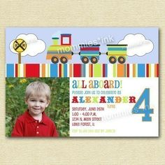 Classic Train Birthday Party Invitation  All Aboard  by MommiesInk, $12.50