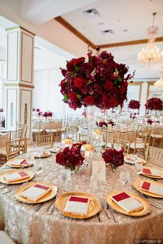 Marsala/burgundy color combos for 2019 fall weddings---elegant gold wedding table with burgundy floral wedding centerpieces, fall weddings, vintage wedding ideas, luxury weddings Red Centerpieces, Wedding Table Centerpieces, Wedding Flower Arrangements, Centerpiece Flowers, Centerpiece Ideas, Burgundy Floral Centerpieces, Graduation Centerpiece, Floral Arrangements, Quince Decorations