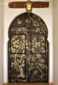 Chinoiserie door Royal Design Studio  stenciled onto a Moorish door at my place, Peacock Pavilions in #Marrakech