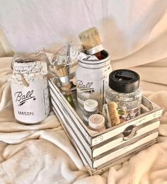 DIY home find that you won't want to live without- this wood crate and Mason jar set is the perfect decor piece to add some shabby chic style to your home. It's the perfect inspiration to get organized: use it in your bathroom, kitchen, next big event (as a centerpiece) or, anything your heart desires. Available in custom chalk paint colors and many sizes/styles. Handmade for an eco-friendly experience. Only at nanasshabyattic.com and Etsy.com/shop/nanasshabyattic4u