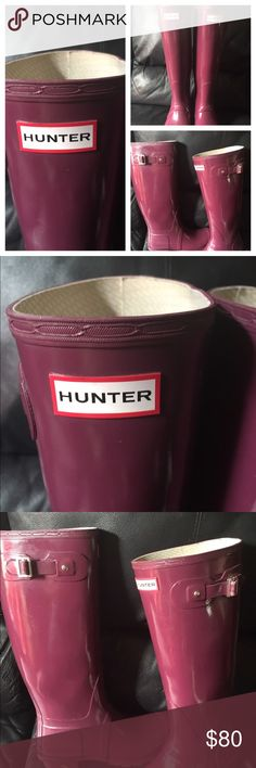Hunter rain boots size 10 euc plum-burgundy color I'm selling a gently worn lair of authentic hunter rain boots in a plum color only worn a handful of times no trades and price is firm thanks Hunter Boots Shoes Winter & Rain Boots