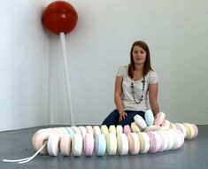Giant Tootsie Pop and candy necklace.....Nicola Freeman's Giant Sweeties Sculptures