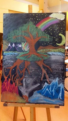 Norse mytholigy - norrøn mytologi #ginnungagap  #waldorfschool #waldorf #chalkboard #chalkdrawing #tavletegning