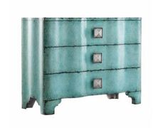 Hooker Furniture Melange, Turquoise Crackle Chest. What a statement gorgeous chest will make in your home! This bold chest can be found at Furnitureland South! Click to shop for more options.