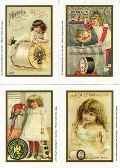 Vintage Needlework Postcards & Tradecards Set 3 - On Fabric!