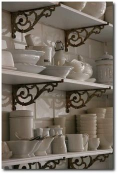 Architectural-Salvage-Brackets. Love the patina of the brackets against the white wood shelves and white dishware. Open Kitchen, Kitchen Nook, Kitchen Cupboards, Open Cabinets, Kitchen Tips, Kitchen White, Kitchen Ideas, Kitchen Pantry, Open Pantry