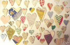 hearts cut from old quilts