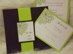 Wedding Invitation Modern Brown and Green Wedding Invitation, 25 Wedding Invitations. $150.00, via Etsy.