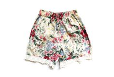 vintage shorts girl size 6 floral print by diaphanousvintage