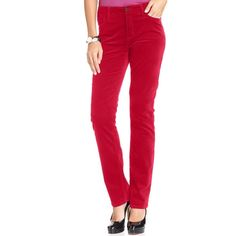 "Jones New York Lexington straight pants, 8P Always classic, these Lexington jeans from Jones New York Signature offer a slim fit  Mid rise: approx. 10"", inseam approx 28"". Straight fit through hips and thighs. Straight leg. Zipper and button closure with classic five-pocket styling.  98% Cotton/ 2% spandex. Color Red, size 8P. Gently used. Cover photo shows the fit: actual item for sale is pictured in photos 2 and 3. Jones New York Pants Straight Leg"