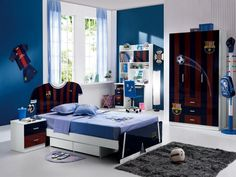 Kids Room: Boys Bedroom For Fc Barcelona Fans With Single Sized Bed Also Blue Wall Paintings Ideas Plus White Studying Desk And Chairs Near Big Closets With Barca Sticker Furthermore Grey Fur Rugs And Blue Red Bedside Table: Boys Bedroom Decor With Stunning Display