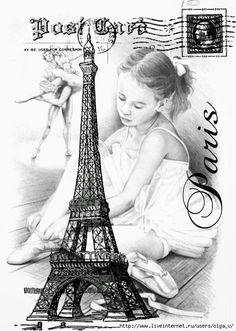 Paris Postcard with the Eiffel Tower and an image of a little girl Decoupage Vintage, Vintage Diy, Vintage Crafts, Vintage Labels, Posters Vintage, Images Vintage, Retro Poster, Vintage Pictures, Vintage Postcards
