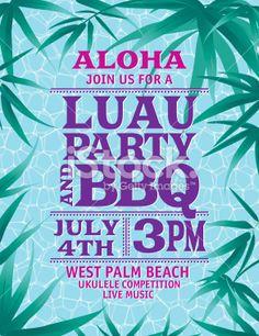 Aloha hawaiian party horizontal invitation template the summer party aloha hawaiian party invitation with a border of leaves over blue stopboris Gallery