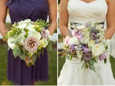 Purple, cream and lavender bouquets. Designed by Cedarwood Weddings.