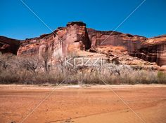 cliff and bare trees against clear sky. - View of cliff and bare trees against clear sky.