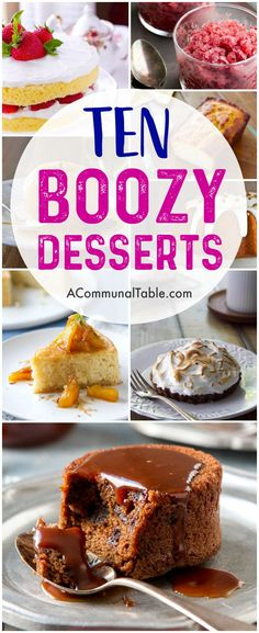cocktails and desserts? You will love this roundup of 10 incredible boozy desserts! You'll find amazing recipes such as Instant Pot Bourbon Sticky Toffee Pudding Cake, Lemoncello Yogurt Cake, and Riesling Poached Pears! Best Cocktail Recipes, Best Dessert Recipes, Amazing Recipes, Snack Recipes, Yummy Recipes, Cookie Recipes, Winter Desserts, Easy Desserts, Delicious Desserts