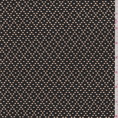 Black and caramel brown. This medium weight cotton and polyester fabric has a textured embroidered diamond design. Compare to $12.00/yd