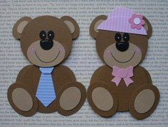 Bears punch art - bjl/ could easily be made on a silhouette Paper Punch Art, Punch Art Cards, Paper Art, Paper Crafts, Baby Cards, Kids Cards, Craft Punches, Marianne Design, Scrapbook Cards